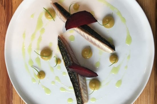 Salt Baked Beetroot, Cured Mackerel, Smoked Apple and Mustard Cress