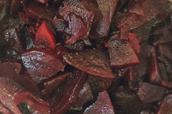 Cooked beetroot ready to blend